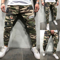 US Men Military Army BDU Pants Casual Camo Joggers Slim Fit Patch Cargo Trousers