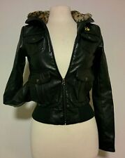 Obey fur lined vegan faux leather bomber jacket leopard print XS womens