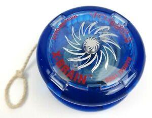 Vtg 1998 Bandai YOMEGA Auto Return X-Brain Trans Blue Clear Yo-Yo Clean!