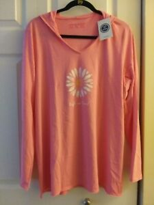 """Life Is Good NWT Womens Size XL """"Soft Daisy"""" Lightweight Hooded Tee Pink"""