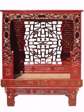 Antique Chinese Wood Carving Hand Made Red Bed / Daybed / Canopy Bed mh312