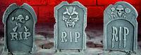 Halloween 38cm RIP Skull Horror Tombstone Gravestone Garden Prop Decoration Set
