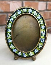 Antique Oval Black Floral Micro Mosaic Frame Signed Angelo Pessarisi Gr8 w/ Doll
