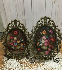 """New Listing2 Vintage Open Ornate Metal Convex Glass Picture Frames Florals 13"""" x 10 1/2"""""""