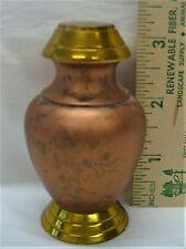 SMALL KEEPSAKE URN--BURNT ORANGE WITH GOLD--UNIQUE SHAPE