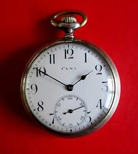 Cyma Silver Plated 800o WW2 Mechanical Hand Winding Pocket Watch Cyma 971 Cal.