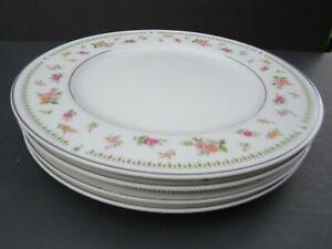 "4 - ABINGDON fine Porcelain China of Japan 6 1/2"" Bread Plates Roses Silver Trim"