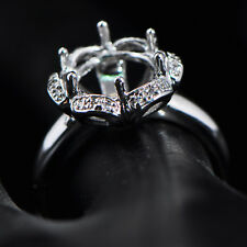 9.0mm Round Cut Solid 14k 585 White Gold Semi Mount Natural Diamond Ring