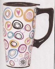 Polka Dots Ceramic Coffee Travel Mug, Plastic Cover, NIB [12103] OoP Spoontiques