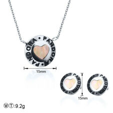 Stainless steel Necklace Pandoraes Pendant Earrings Shell Heart Jewelry Sets
