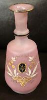 Antique 1880's Pink Hand Blown Glass Floral Barbershop Bottle Pontil Marked Rare