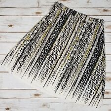 CATO Ethnic Tribal Print Beige Black Yellow Stretch Jersey Style Skirt Size XS