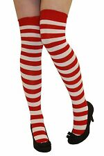 Red & White Striped OVERKNEE Socks Miss Santa Christmas Stripe Wally Costume Sox