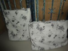 CANNON GRAY WHITE FLORAL (2) FULL FITTED & FLAT SHEET SET COTTON BLEND