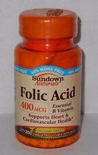 Sundown Naturals Folic Acid 400mcg 350ct Tablets -FREE WORLDWIDE SHIPPING-