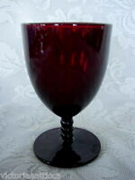 Collectible Vintage 1930's-'40's Ruby Red Glass Footed Goblet