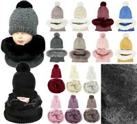 Thick Winter Knit Lined Pom Pom Hat and Faux Fur Infinity Scarf Set