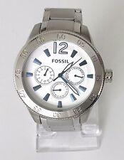 Fossil Herren Uhr silber weiß blau Edelstahl Datum Wochentag 24 h BQ2105 Neu OVP