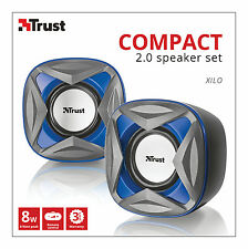 TRUST 21182 XILO 2.0 8W MAX 4W RMS USB POWERED SPEAKER SET FOR PC LAPTOP ETC