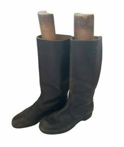 Vintage East German Military Officer Black Leather Motorcycle Boots
