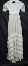 ANTIQUE DRESS 1830's LADY'S WHITE COTTON GOWN HAND STITCHED MUSEUM DEACCESSIONED