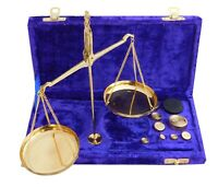 Vintage Polished Brass jewellery Balance Scale With Velvet Box & Complete Weight