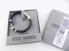 Steve Madden MENS BLUE SILVER Stainless Steel Leather Bracelet Hook closure M23