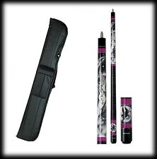 New Action ADV07 Pool Cue Stick - Black & Purple Unicorn 18 - 21 oz & Case