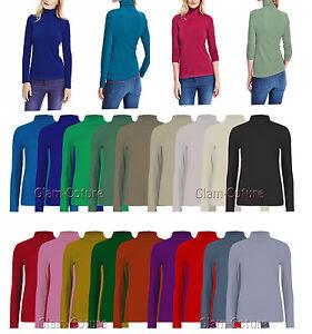 Women Long Sleeve Polo Neck Top Ladies Polo neck Turtle Neck Top T-shirt 8-26