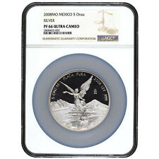 Mexican Libertad 5 oz Proof Silver Coin Mexico 2008 NGC PF 66  mintage 900 only