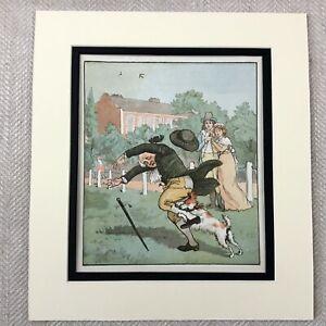 1885 Antique Print Gentleman Dog Victorian Children's Story Illustration Art