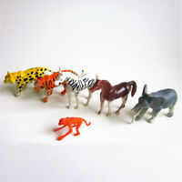 6PCS Plastic Zoo Animal Figure Tiger Leopard Monkey Elephant Kids Toy Gift JR