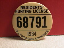 1934 STATE OF NEW JERSEY RESIDENT GUN HUNTING TRAPPING FISHING LICENSE PIN