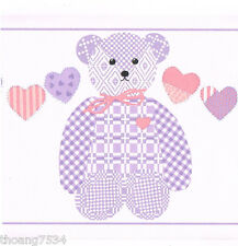 Country Patchwork Gingham Purple Check Teddy Bear Nursery Kids Wall paper Border