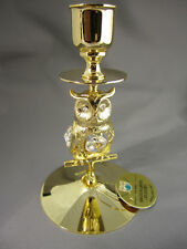 Candelero Búho con Swarowski CRISTALES equipado Dorado Chapado en oro
