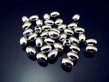 FREE LOT 200PCS bulk Loose silver plate Acrylic Oval Charms Spacer Beads 4X8mm