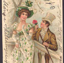 Romantic Man Gives Rose Flower To Shy Lady,Early Chromolithograph,Gold,Pos tcard