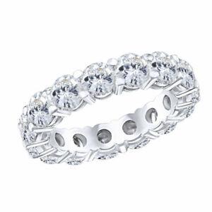 5 Ct Simulated Round Diamond Full Eternity Wedding Band Ring 18K White Gold Sz-7
