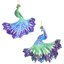 Iridescent Glitter Accent Acrylic Peacock Christmas Ornaments, 5-1/2-Inch, 2-Pie