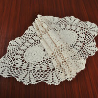 Vintage Hand Crochet Table Runner Dresser Scarf Oval Lace Doily Beige 12x35inch