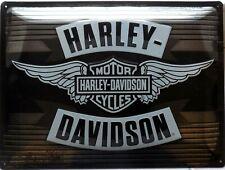 PLAQUE METAL vintage HARLEY DAVIDSON silver logo - 40 x 30 cm