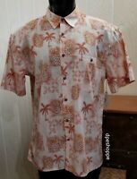 Island Shores Orange Tropical Hawaiian Pineapples Palms Button Front S/S Shirt L