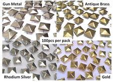 CraftbuddyUs 100x 12mm Gold Square Pyramid Studs Goth Leather craft Denim