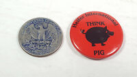 Heifer International Think Pig Pinback Collectible Pin Rare Vintage