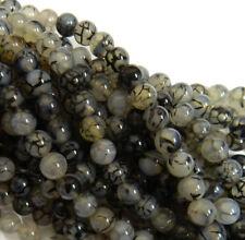 Black Spider Agate 8mm Natural Gemstone Rondelle Beads 15 Inch Loose