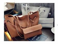 2 in 1 Large Casual Leather Bucket Shoulder Bag (brown)