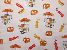 Hot Dogs Pretzels Hot Dog Cart Snacks Food Cotton Fabric FQ