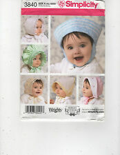 """SIMPLICITY PATTERN 3840 BABY BONNETS IN THREE SIZES 17"""" TO 19"""""""