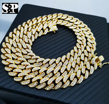 """Hip Hop Iced Out Gold plated QUAVO Rapper 12mm 30"""" Cuban Box Lock Chain Necklace"""