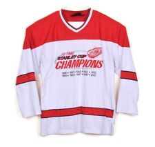 Detroit Red Wings 10 Time Stanley Cup Champions Vtg Red L/S Away Jersey Shirt XL